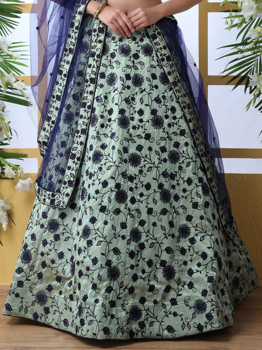 Tea Green and Navy Blue Art Silk Embroidered Party Lehenga Choli