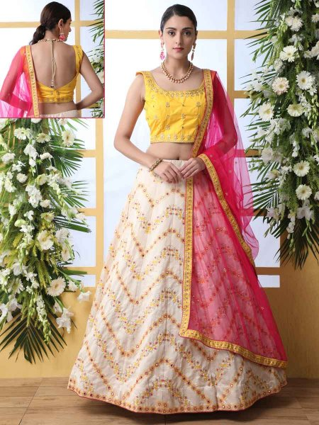 Off-White and Maize Yellow Art Silk Embroidered Party Lehenga Choli