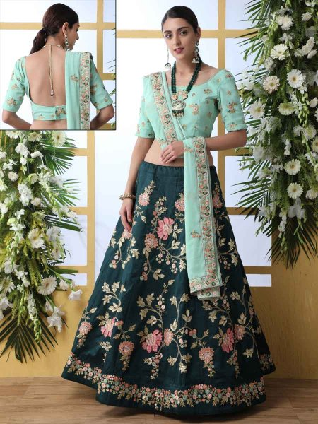 Midnight Green and Sky Blue Art Silk Embroidered Party Lehenga Choli