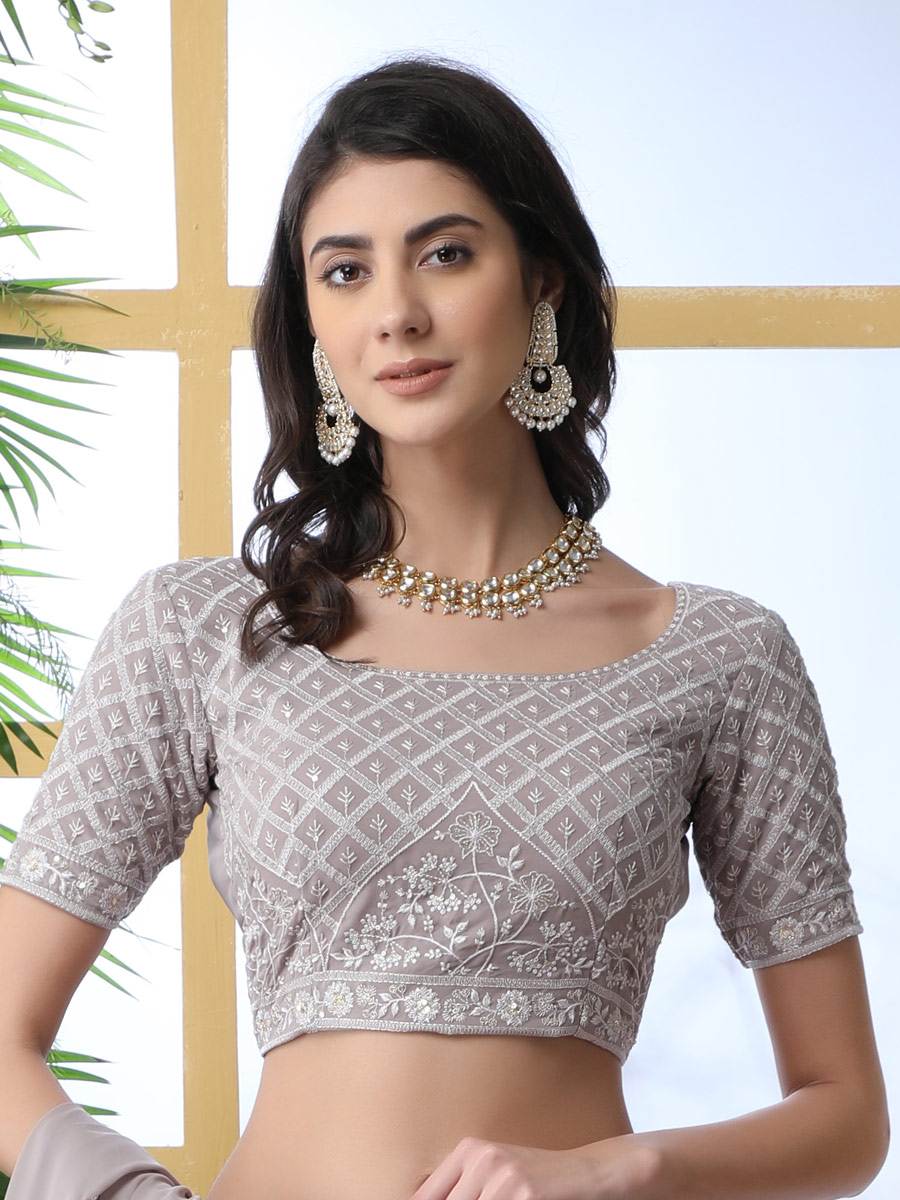 Light Grey Faux Georgette Embroidered Party Lehenga Choli