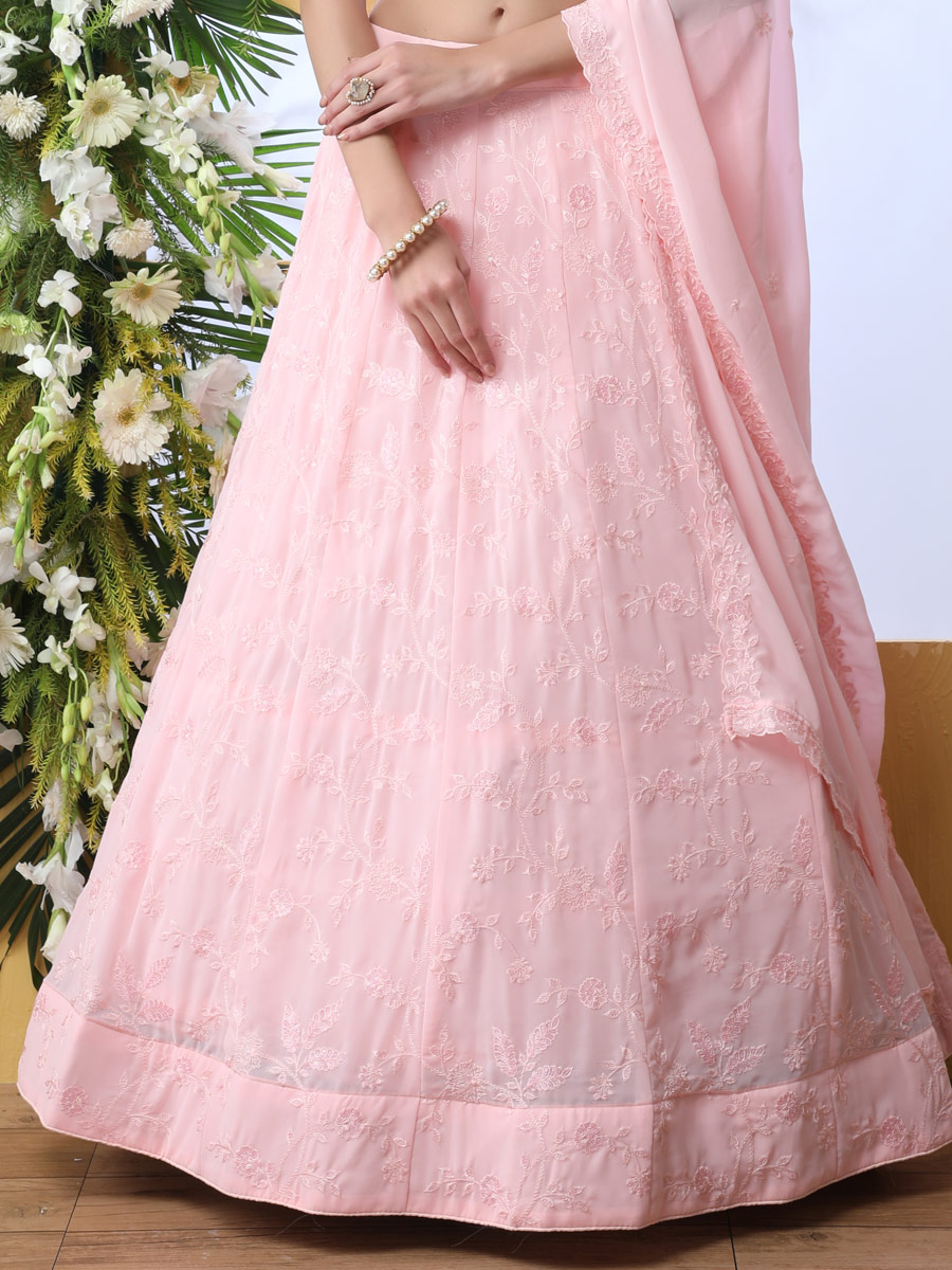 Light Pink Faux Georgette Embroidered Party Lehenga Choli