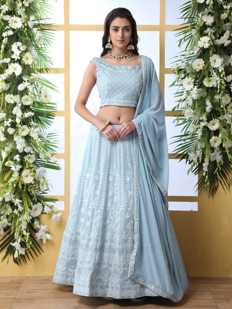 Sky Blue Faux Georgette Embroidered Party Lehenga Choli