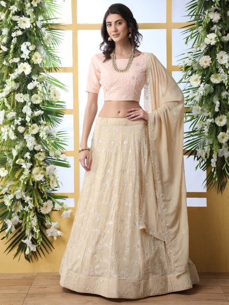 Beige Brown Faux Georgette Embroidered Party Lehenga Choli