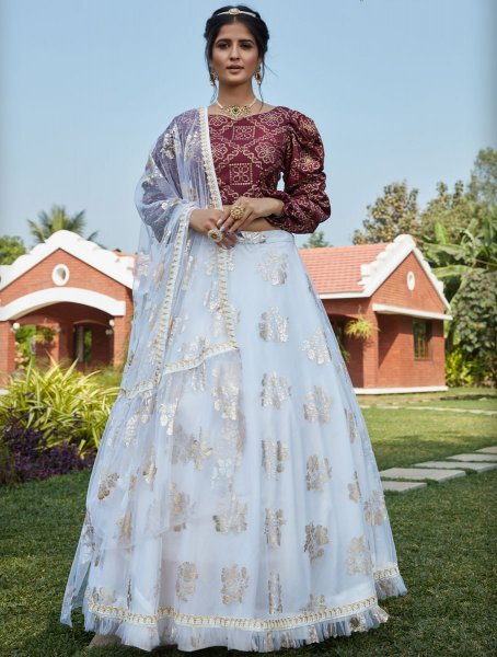 White Net Designer Party Lehenga Choli