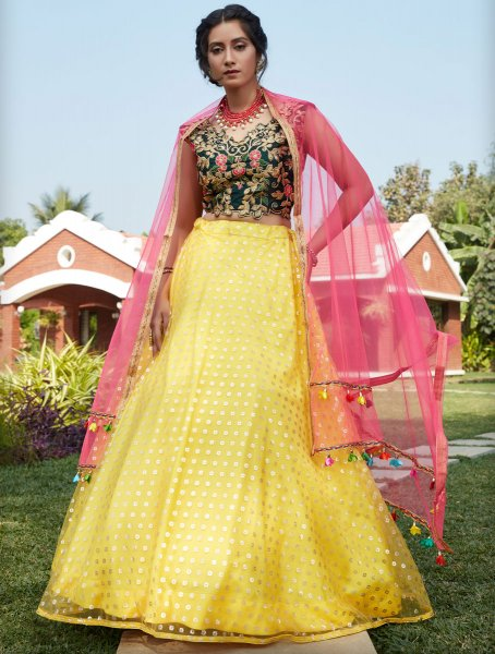 Maize Yellow Net Designer Party Lehenga Choli