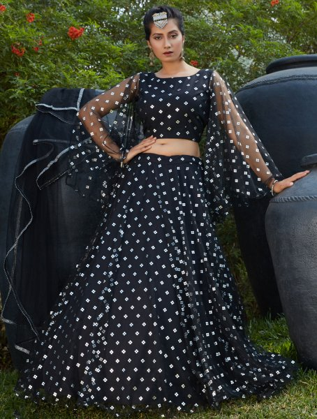 Black Net Designer Party Lehenga Choli