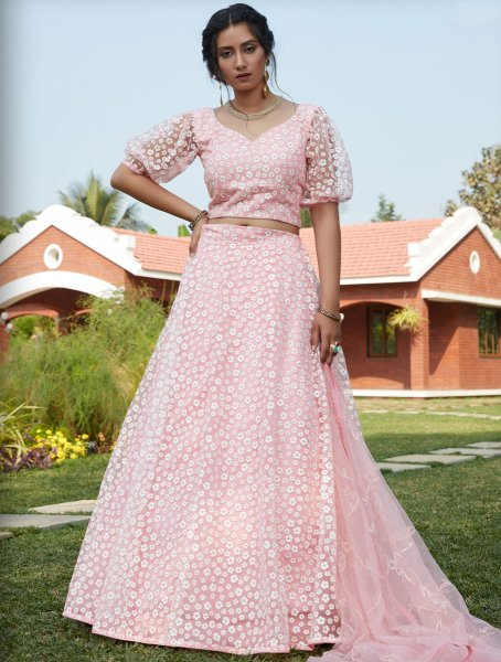 Light Pink Net Designer Party Lehenga Choli