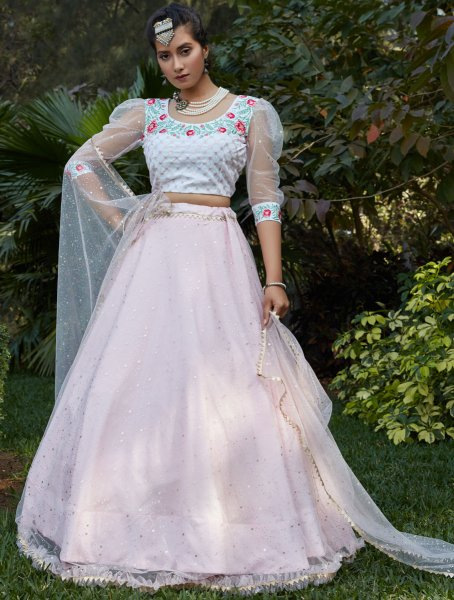 Tea Rose Pink Net Designer Party Lehenga Choli
