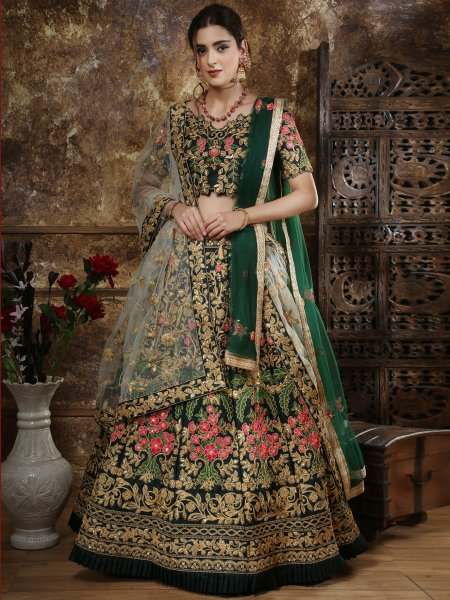 Midnight Green Taffeta Satin Embroidered Wedding Lehenga Choli