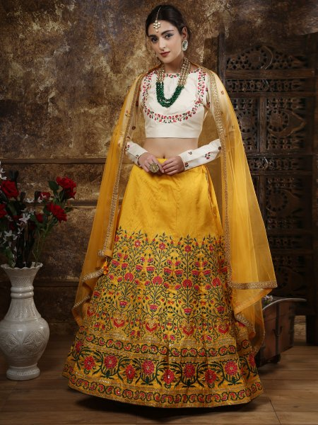 Amber Yellow Silk Embroidered Wedding Lehenga Choli