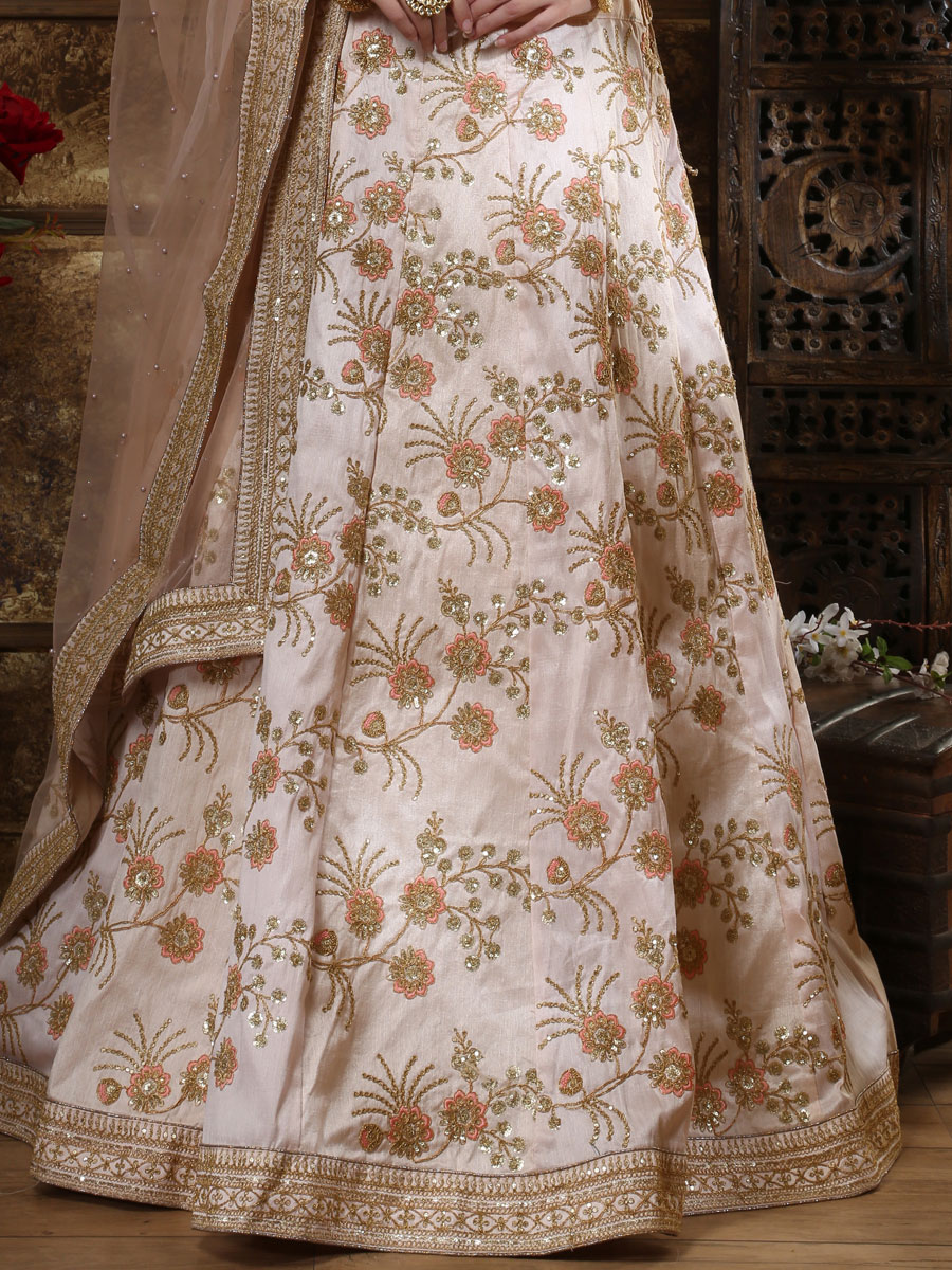 Tea Rose Pink Silk Embroidered Wedding Lehenga Choli