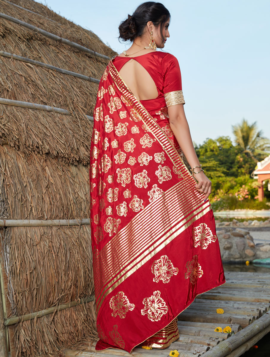 Rose Madder Red Silk Printed Party Saree