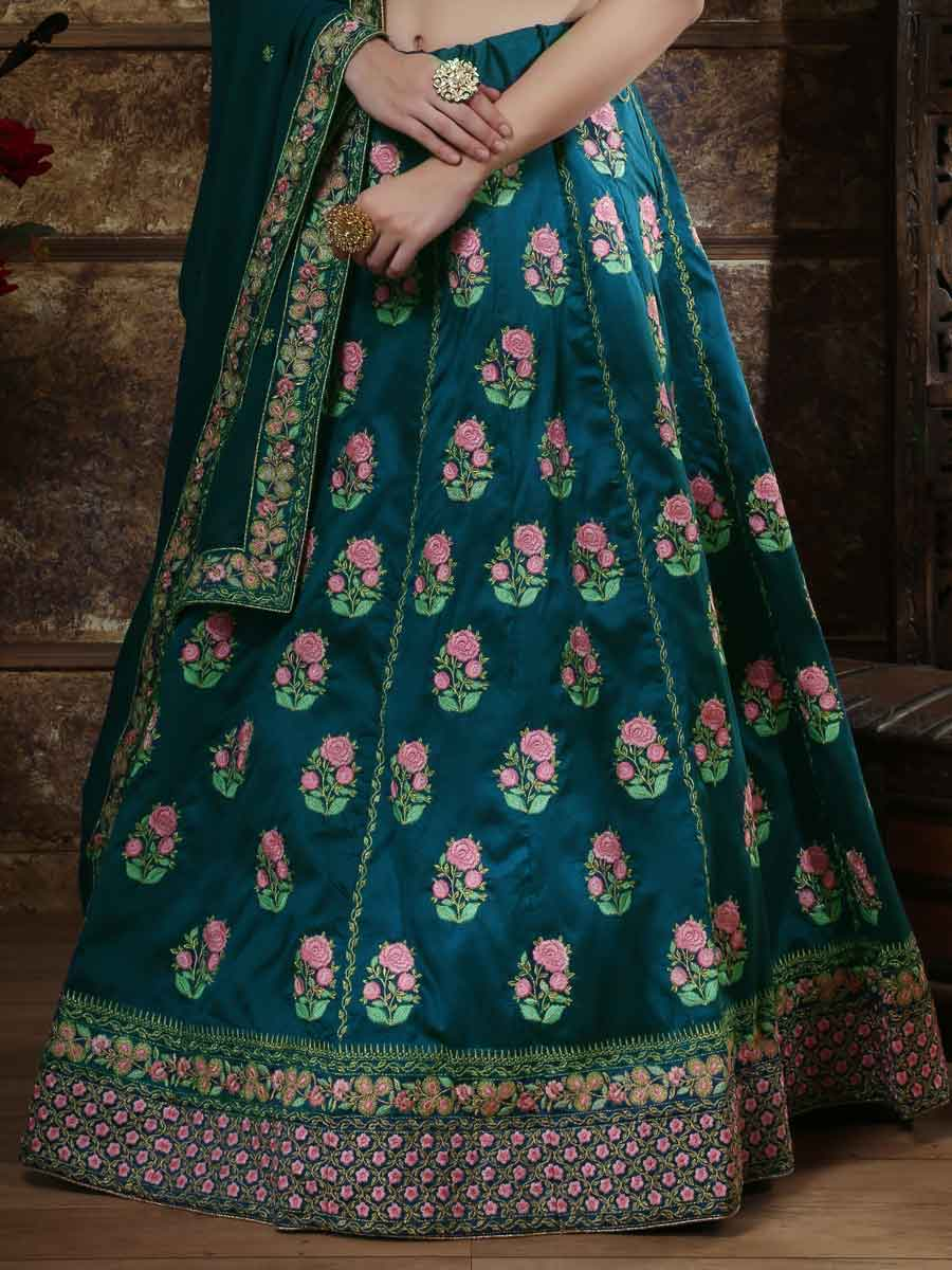 Teal Blue Silk Embroidered Party Lehenga Choli