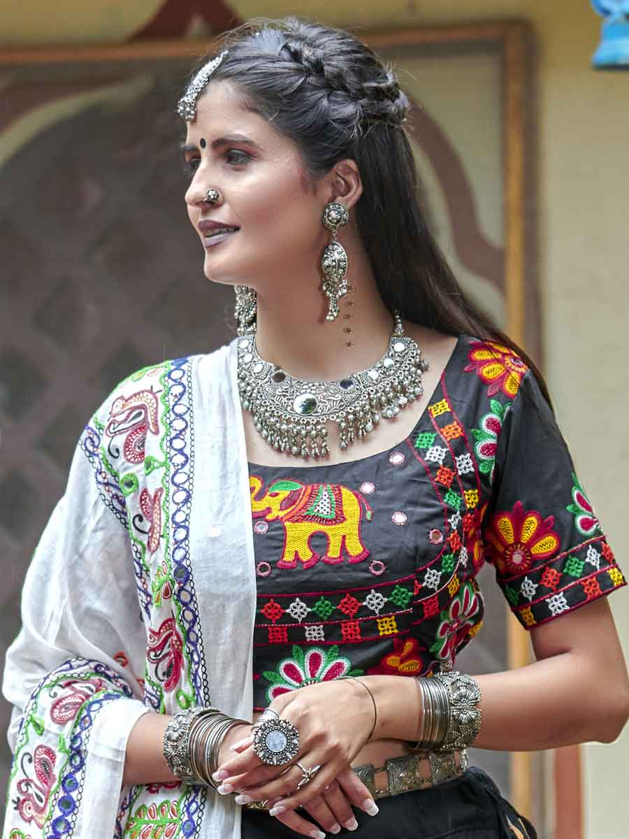 Charcoal Grey Cotton Festival Embroidered Lehenga