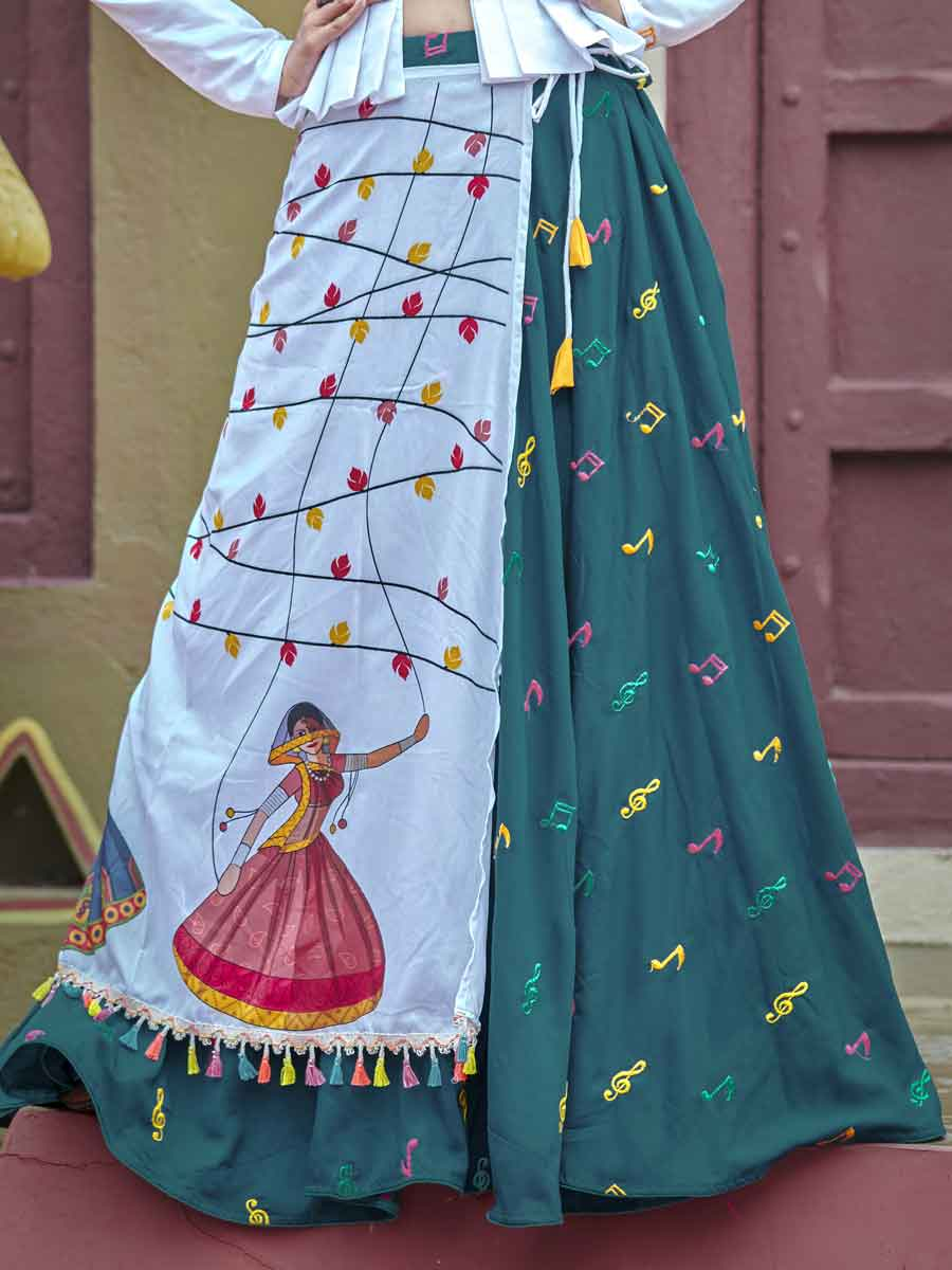 Off White And Teal Green Cotton Festival Embroidered Lehenga