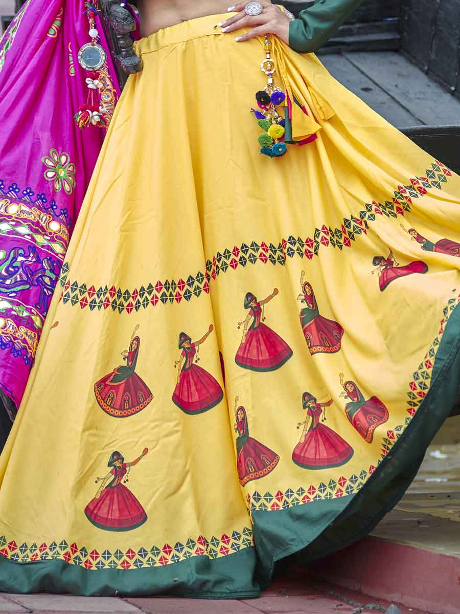 Jonquil Yellow Cotton Festival Embroidered Lehenga