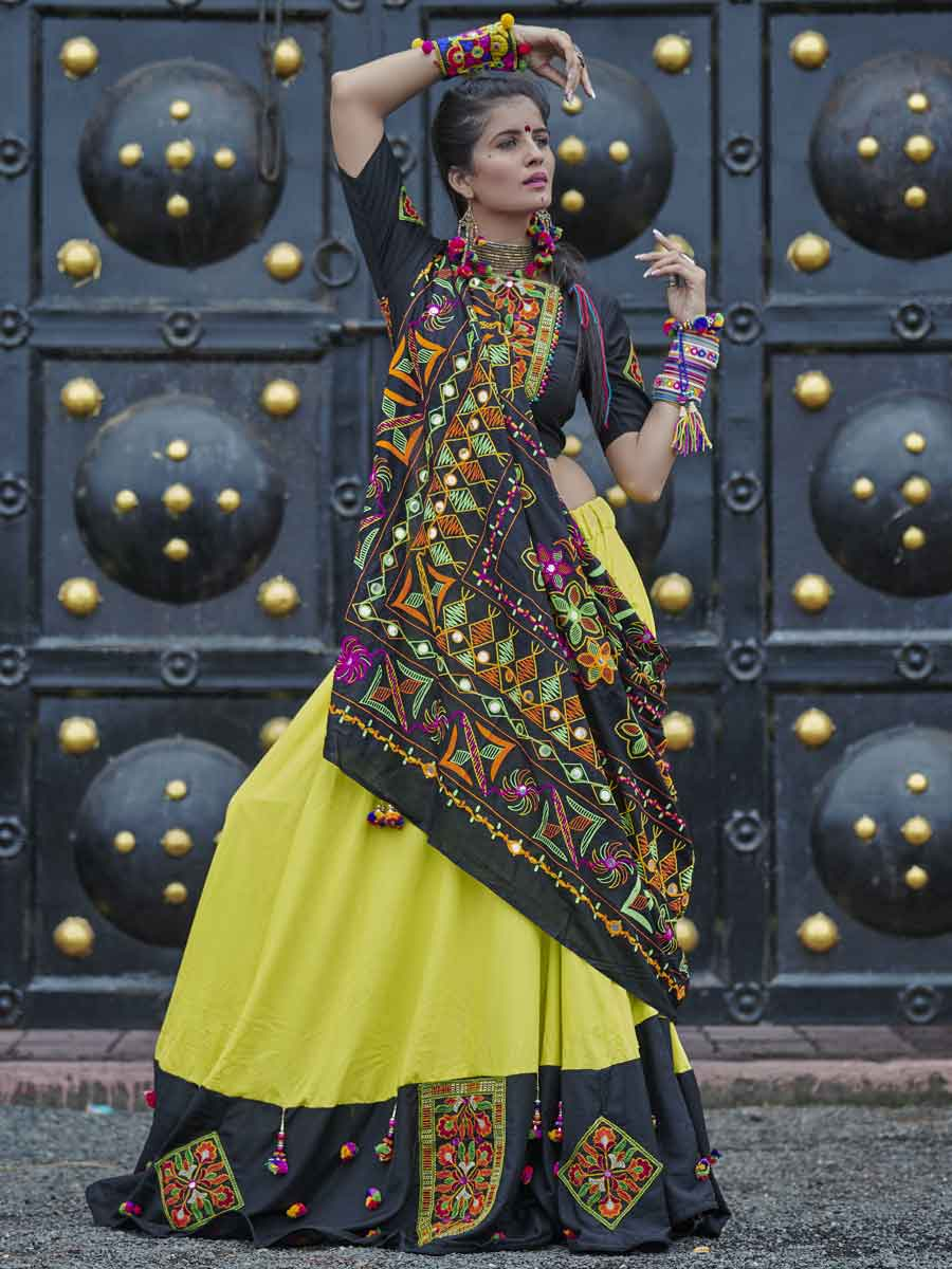 Pear Green Cotton Festival Embroidered Lehenga