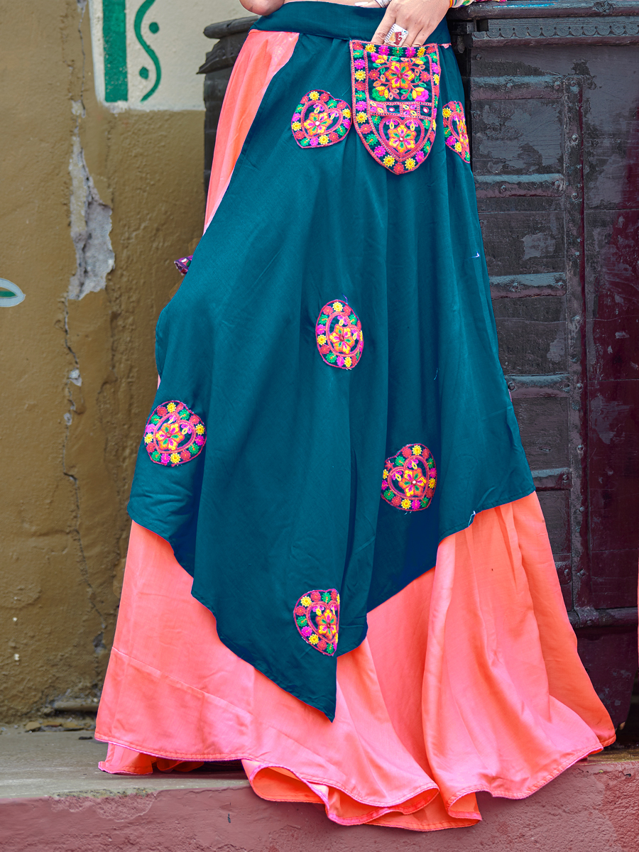 Cerulean Blue Cotton Embroidered Party Lehenga