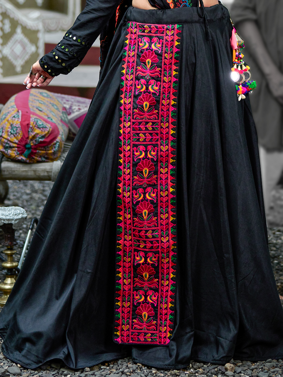 Black Cotton Embroidered Party Lehenga