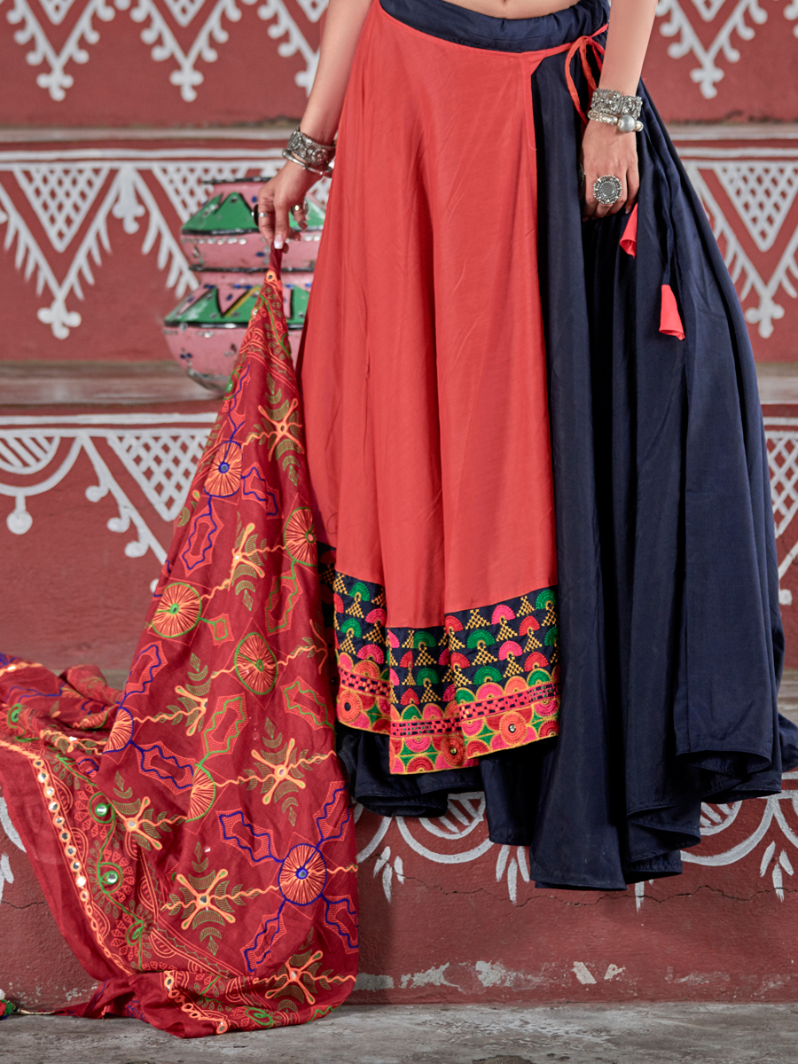 Pink Orange And Midnight Blue Cotton Embroidered Party Lehenga