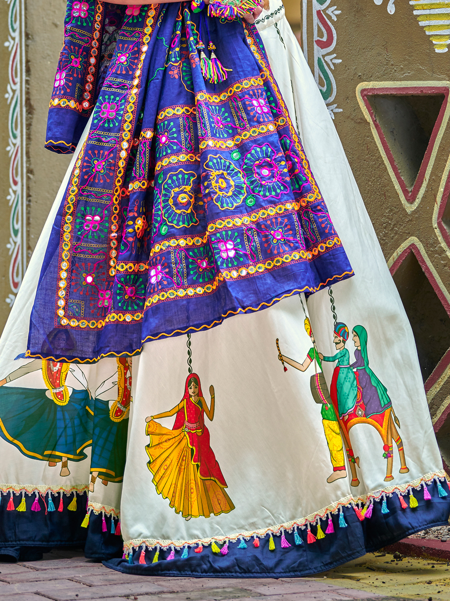 Off White Cotton Embroidered Party Lehenga