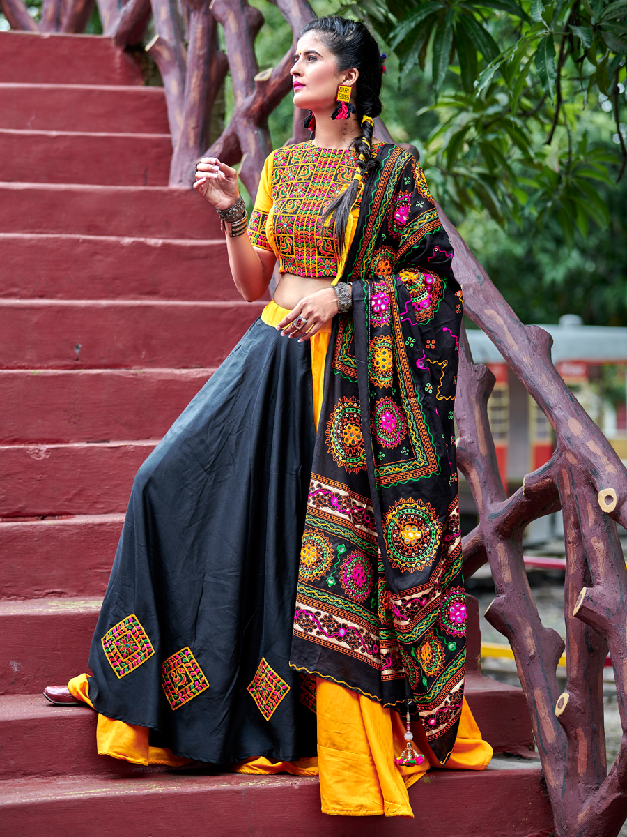 Amber Yellow And Arsenic Gray Cotton Embroidered Party Lehenga