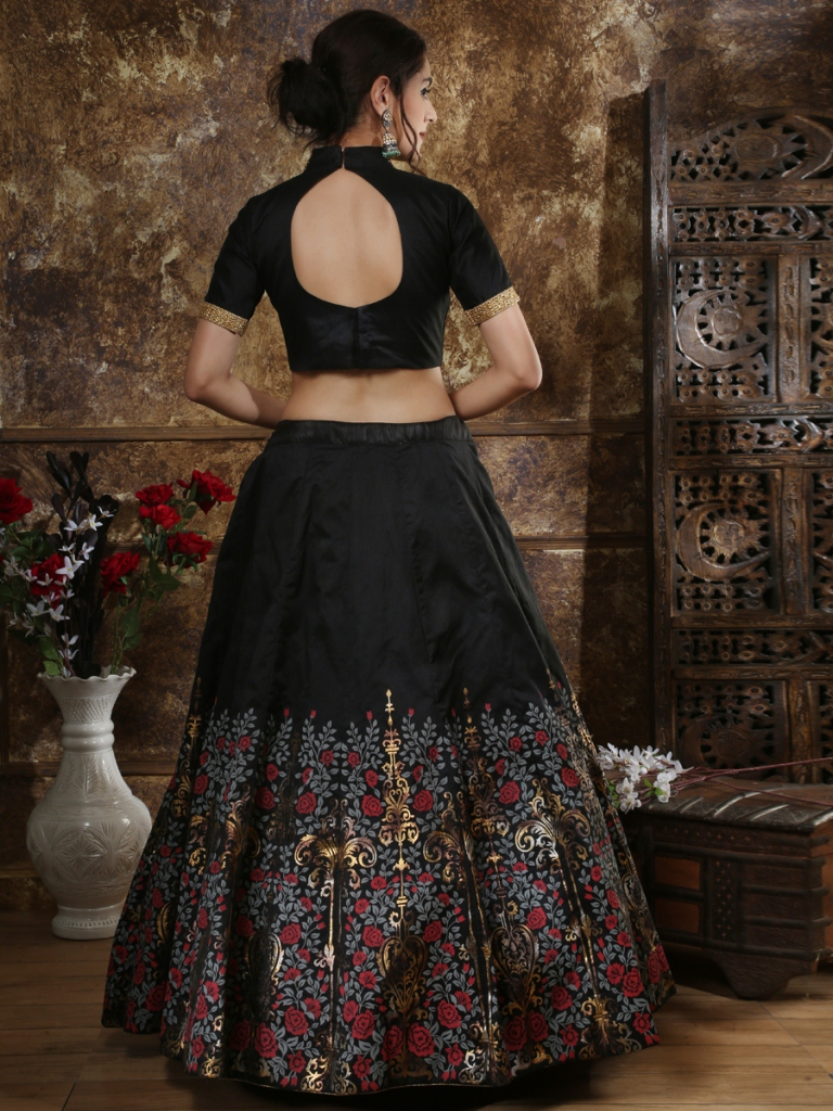 Black Silk Embroidered Party Lehenga Choli