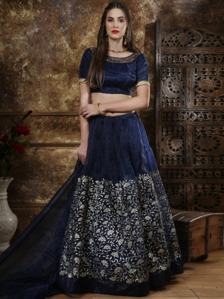 Sapphire Blue Organza Embroidered Party Lehenga Choli