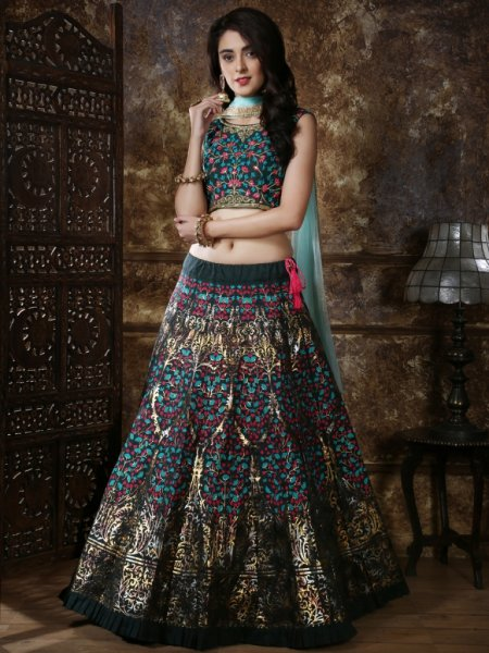 Myrtle Green Silk Embroidered Party Lehenga Choli