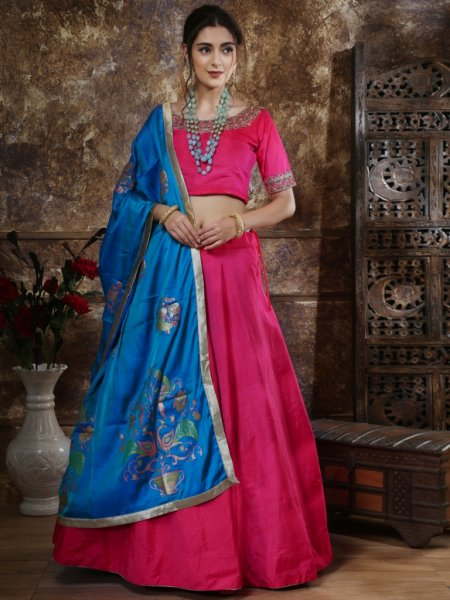 Magenta Pink Mastani Silk Embroidered Party Lehenga Choli