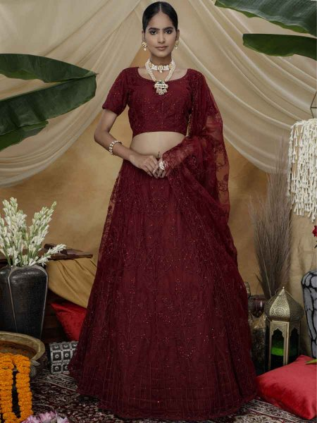 Maroon Net Embroidered Wedding Lehenga Choli