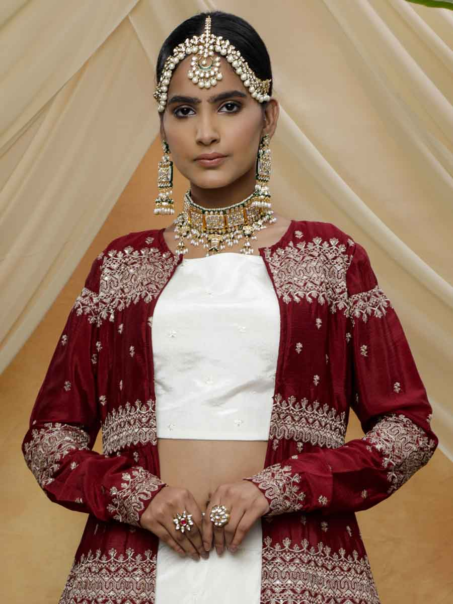 White Chinnon Embroidered Party Lehenga Choli
