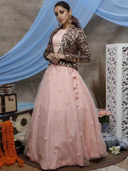 Coral Pink Net Embroidered Party Lehenga Choli