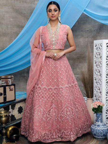 Light Thulian Pink Net Embroidered Wedding Lehenga Choli