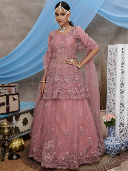 Coral Pink Net Embroidered Wedding Lehenga Choli