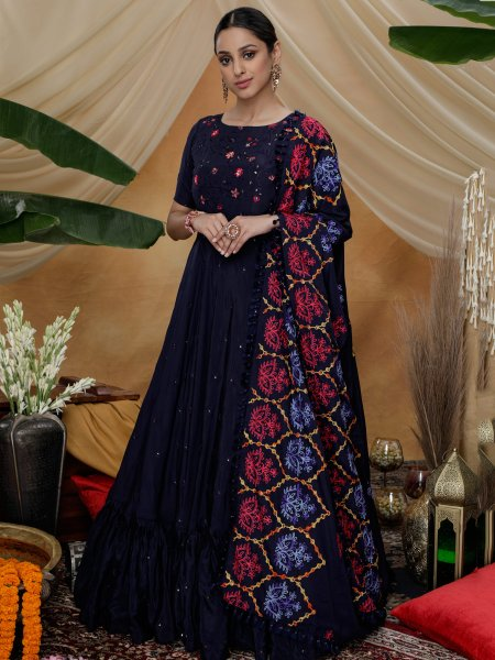 Navy Blue Silk Embroidered Party Gown