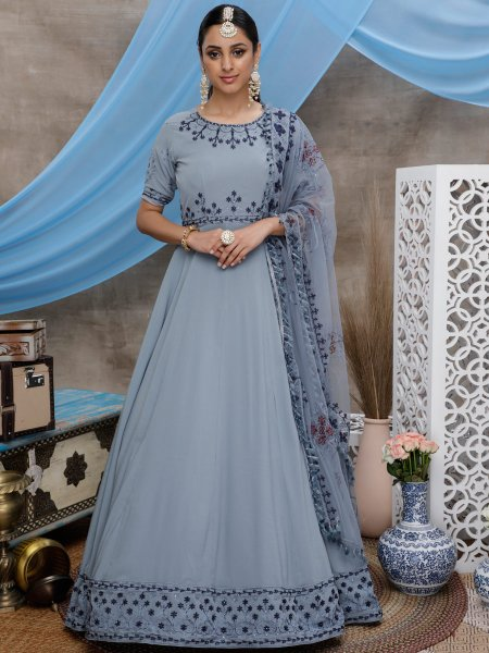 Gray Georgette Embroidered Party Gown