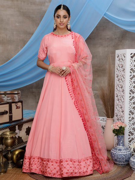 Salmon Pink Silk Embroidered Party Gown