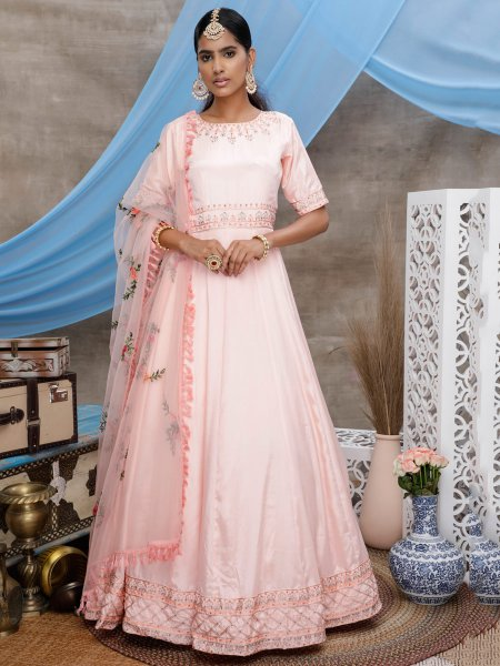 Light Coral Pink Georgette Embroidered Party Gown