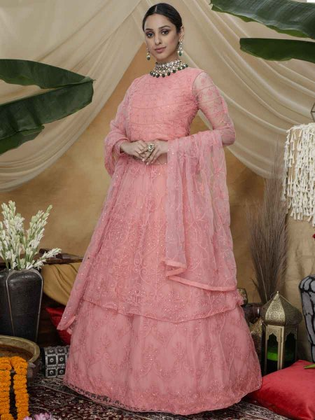 Brink Pink Net Embroidered Party Gown