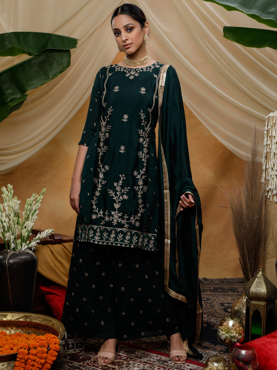 Hunter Green Chinnon Embroidered Festival Palazzo Pant Kameez