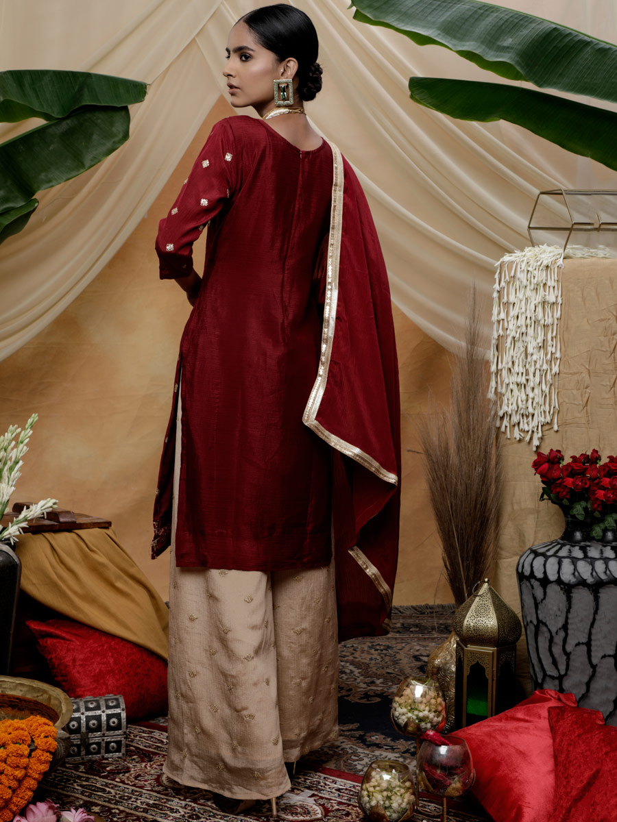 Maroon Chinnon Embroidered Festival Palazzo Pant Kameez