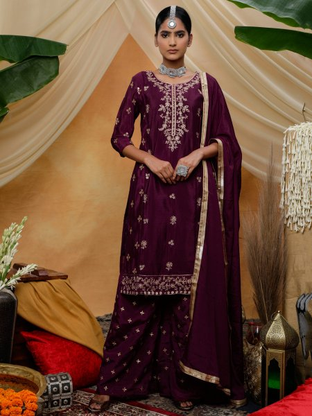 Byzantium Purple Chinnon Embroidered Festival Palazzo Pant Kameez