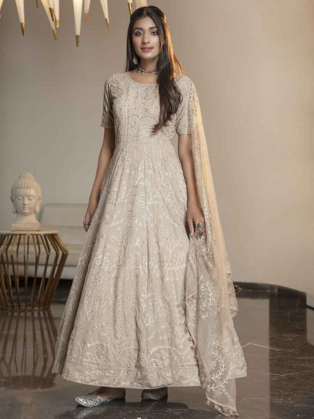 Beige Yellow Georgette Embroidered Festival Gown