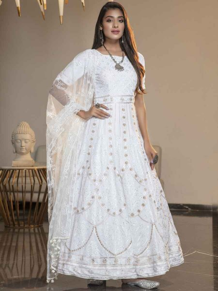 White Georgette Embroidered Festival Gown