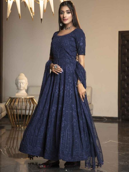 Navy Blue Georgette Embroidered Festival Gown