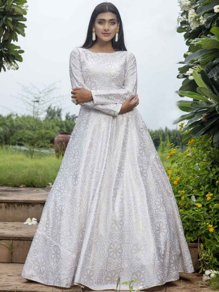 White Cotton Printed Party Gown