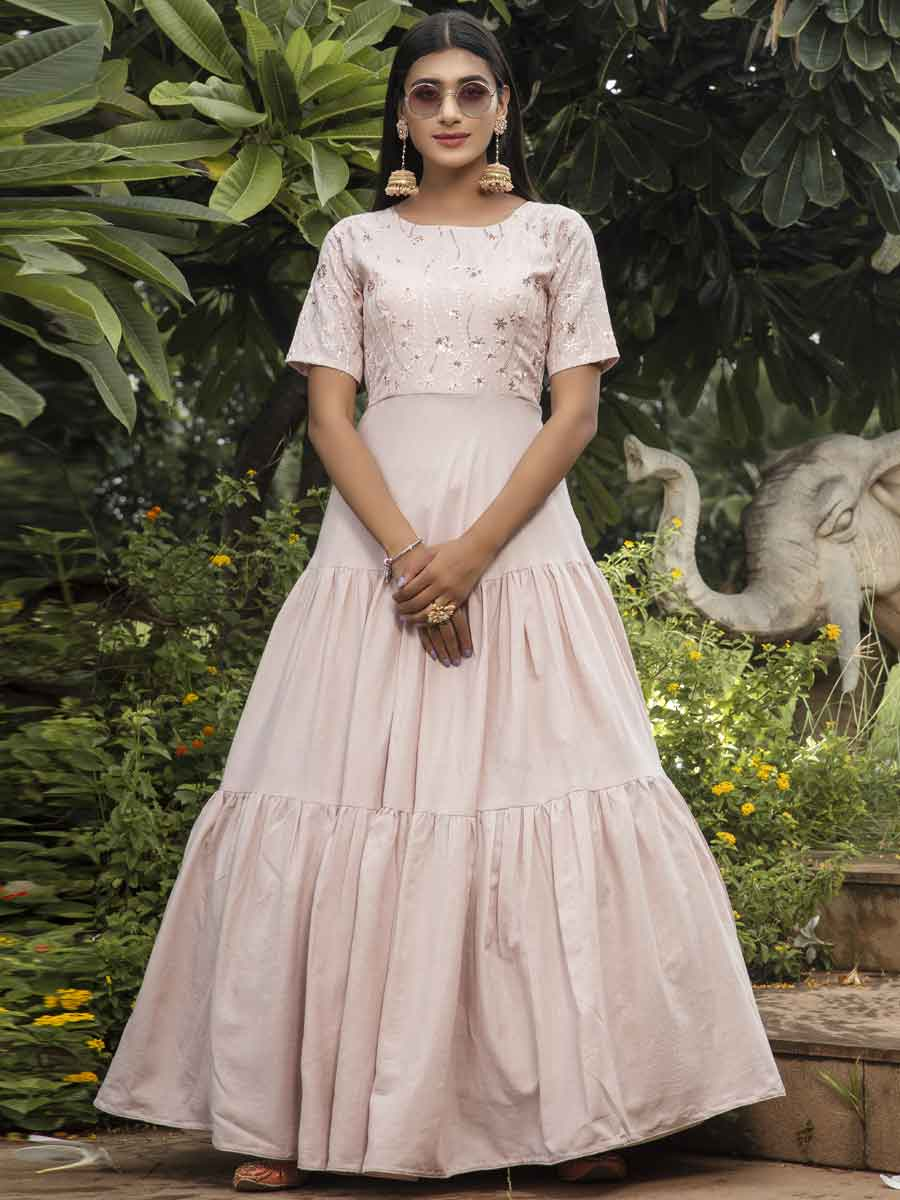 Tea Rose Pink Cotton Embroidered Party Gown