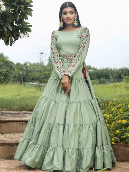 Moss Green Cotton Embroidered Party Gown