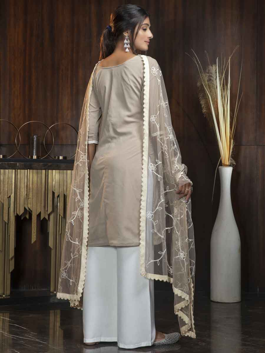 Beige Yellow Georgette Embroidered Party Palazzo Pant Kameez